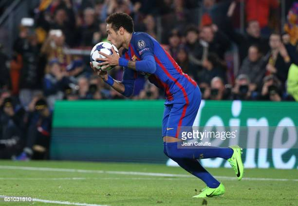 Neymar Jr of FC Barcelona celebrates the 5th goal on a penalty kick during the UEFA Champions League Round of 16 second leg match between FC...