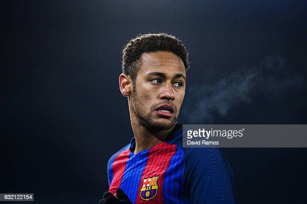 Neymar Jr of FC Barcelona looks on during the Copa del Rey quarterfinal first leg match between Real Sociedad and FC Barcelona at Anoeta stadium on...