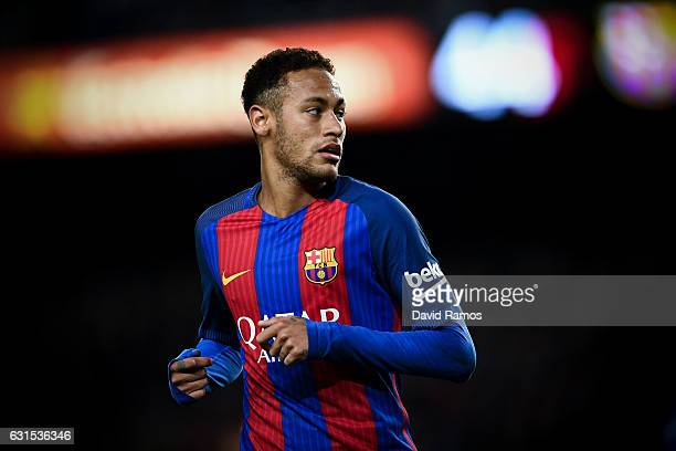 Neymar Jr of FC Barcelona looks on during the Copa del Rey round of 16 second leg match between FC Barcelona and Athletic Club at Camp Nou on January...