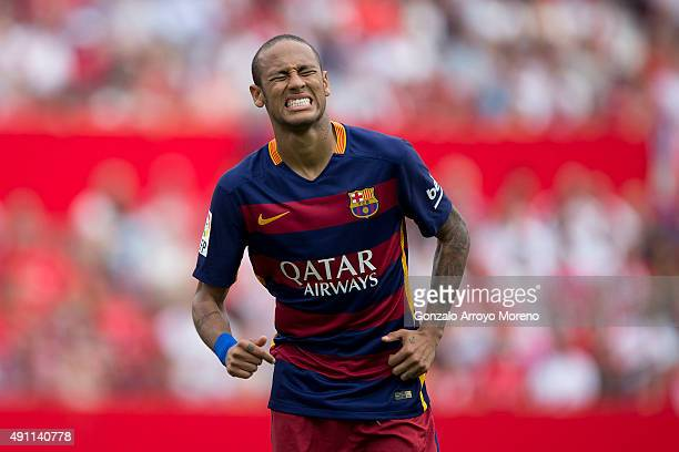 Neymar JR of FC Barcelona reacts as he fails to score during the La Liga match between Sevilla FC and FC Barcelona at Estadio Ramon Sanchez Pizjuan...