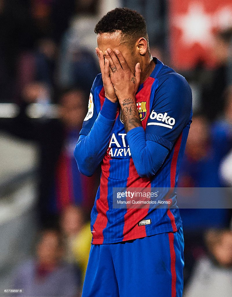 Neymar Jr of FC Barcelona reacts during La Liga match between FC Barcelona and Real Madrid CF at Camp Nou Stadium on December 3 2016 in Barcelona...