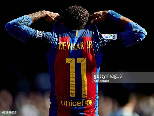 Neymar Jr of FC Barcelona reacts during La Liga match between Real Betis Balompie and FC Barcelona at Benito Villamarin Stadium on January 29 2017 in...