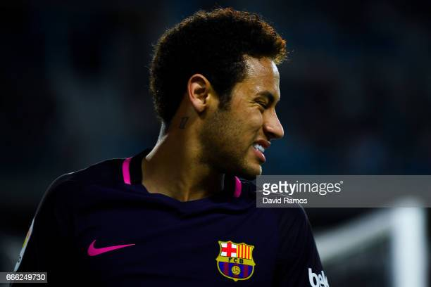 Neymar Jr of FC Barcelona reacts during the La Liga match between Malaga CF and FC Barcelona at La Rosaleda stadium on April 8 2017 in Malaga Spain