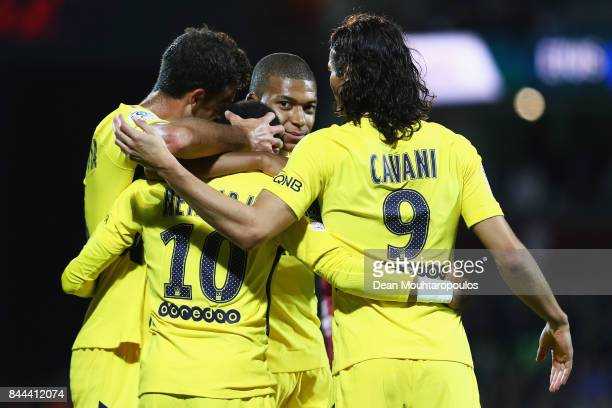 Neymar Jr of Paris SaintGermain Football Club or PSG celebrates scoring a goal with team mates during the Ligue 1 match between Metz and Paris Saint...
