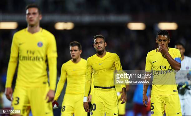 Neymar Jr of Paris SaintGermain Football Club or PSG waves to the fans as he celebrates after victory in the Ligue 1 match between Metz and Paris...