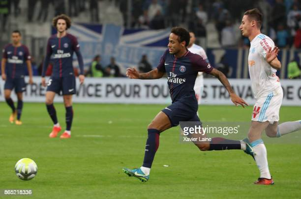 Neymar jr of Paris SaintGermain in action with Florian Thauvin of Olympique Marseille during the Ligue 1cmatch between Olympique Marseille and Paris...