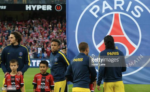 Neymar Jr of Paris SaintGermain pose before the French Ligue 1 match between EA Guingamp and Paris Saint Germain at Stade du Roudourou on August 13...