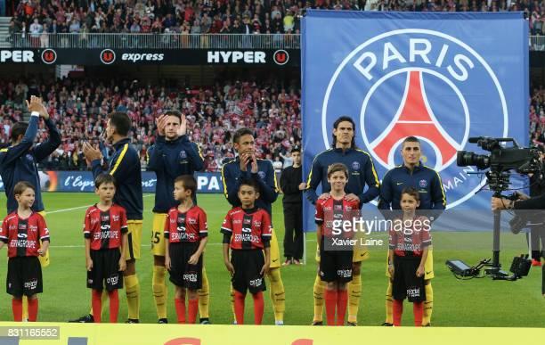 Neymar Jr of Paris SaintGermain pose with Edinson Cavani and Marco Verratti before the French Ligue 1 match between EA Guingamp and Paris Saint...