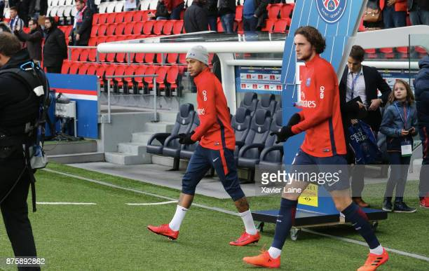 Neymar Jr of Paris SaintGermain react with Adrien Rabiot during the Ligue 1 match between Paris SaintGermain and FC Nantes at Parc des Princes on...
