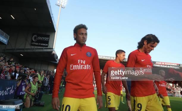 Neymar Jr of Paris SaintGermain react with Edinson Cavani during the French Ligue 1 match between EA Guingamp and Paris Saint Germain at Stade du...