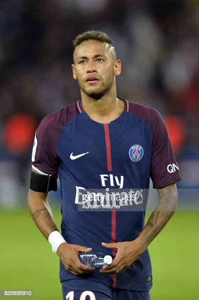Neymar Jr of Paris SaintGermain reacts after the Ligue 1 match between Paris SaintGermain and Toulouse at Parc des Princes on August 20 2017 in Paris...