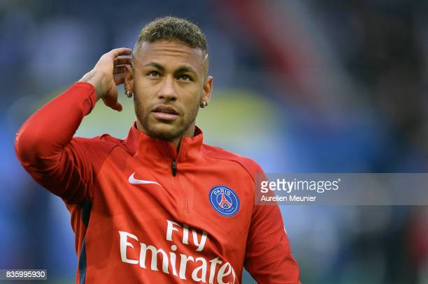 Neymar Jr of Paris SaintGermain reacts during warmup before the Ligue 1 match between Paris SaintGermain and Toulouse at Parc des Princes on August...