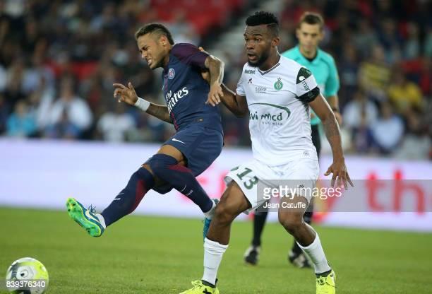 Neymar Jr of PSG and Habib Maiga of SaintEtienne during the French Ligue 1 match between Paris Saint Germain and AS SaintEtienne at Parc des Princes...