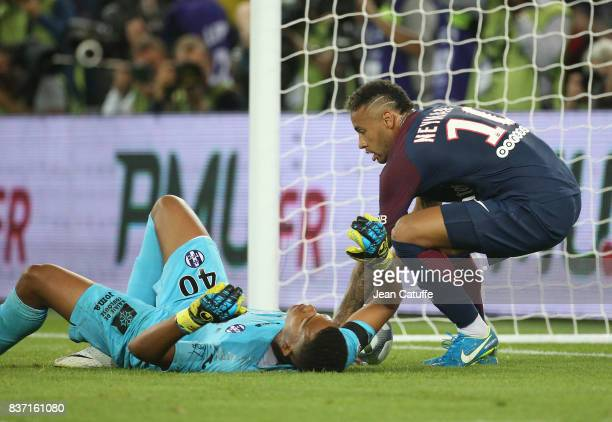 Neymar Jr of PSG celebrates his first goal while goalkeeper of Toulouse Alban Lafont lies down during the French Ligue 1 match between Paris Saint...