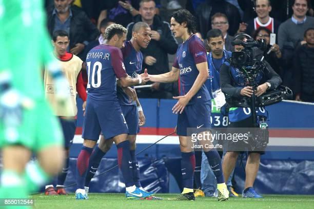 Neymar Jr of PSG celebrates his goal with Kylian Mbappe and Edinson Cavani during the UEFA Champions League group B match between Paris SaintGermain...