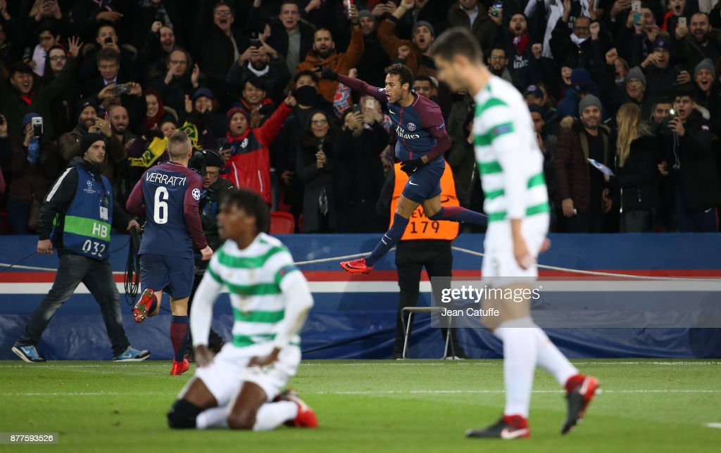 Neymar Jr of PSG celebrates his second goal while players of Celtic look down during the UEFA Champions League group B match between Paris Saint-Germain (PSG) and Celtic FC at Parc des Princes on November 22, 2017 in Paris, France.