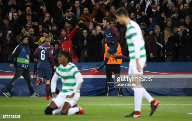 Neymar Jr of PSG celebrates his second goal while players of Celtic look down during the UEFA Champions League group B match between Paris...