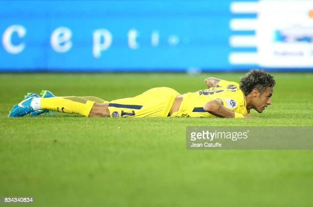 Neymar Jr of PSG during the French Ligue 1 match between En Avant Guingamp and Paris Saint Germain at Stade de Roudourou on August 13 2017 in...