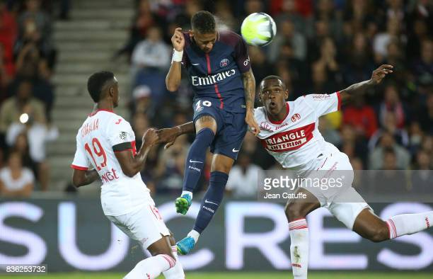 Neymar Jr of PSG Issa Diop of Toulouse during the French Ligue 1 match between Paris Saint Germain and Toulouse FC at Parc des Princes on August 20...