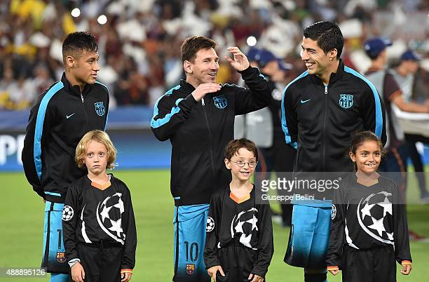 Neymar Lionel Messi and Luis Suarez of FC Barcelona before the UEFA Champions League Group E match between AS Roma and FC Barcelona at Olimpico...