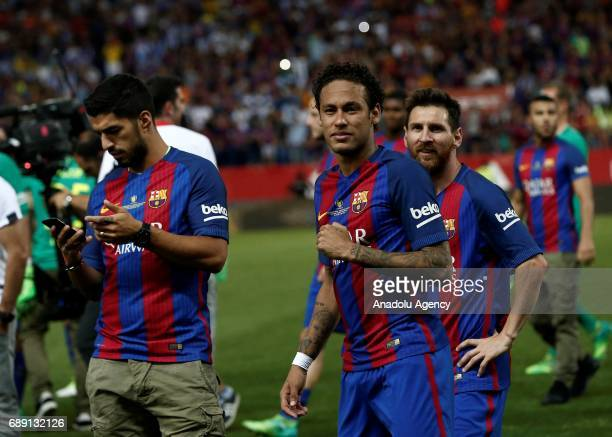 Neymar Messi and Luis Suarez of Barcelona celebrate after the Copa Del Rey Final between FC Barcelona and Deportivo Alaves at Vicente Calderon...