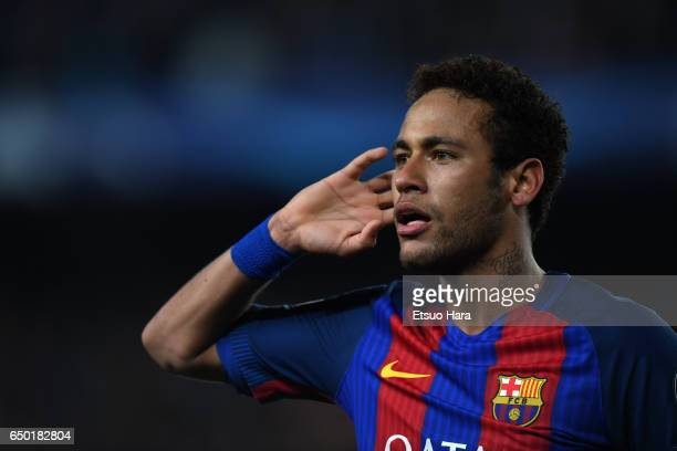 Neymar of Barcelona celebrate his side's sixth goal during the UEFA Champions League Round of 16 second leg match between FC Barcelona and Paris...