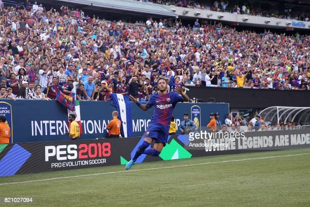 Neymar of Barcelona celebrates after scoring during the International Champions Cup 2017 friendly match between Juventus and Barcelona at Metlife...
