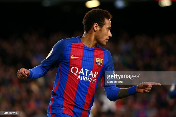 Neymar of Barcelona celebrates after scoring his team's second goal during the La Liga match between FC Barcelona and RC Celta de Vigo at the Camp...