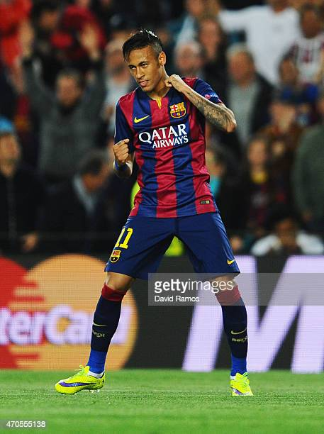 Neymar of Barcelona celebrates as he scores their first goal during the UEFA Champions League Quarter Final second leg match between FC Barcelona and...