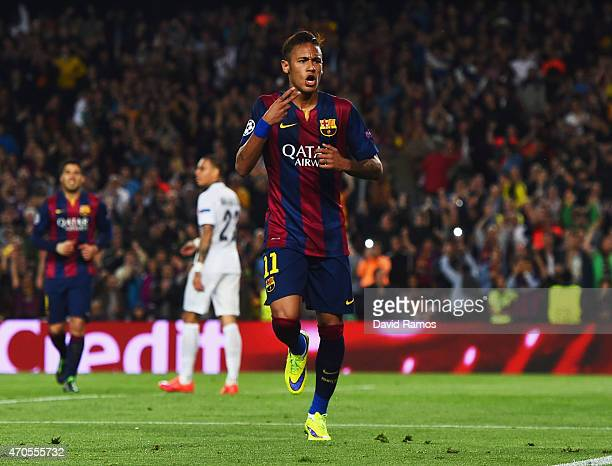 Neymar of Barcelona celebrates as he scores their second goal during the UEFA Champions League Quarter Final second leg match between FC Barcelona...