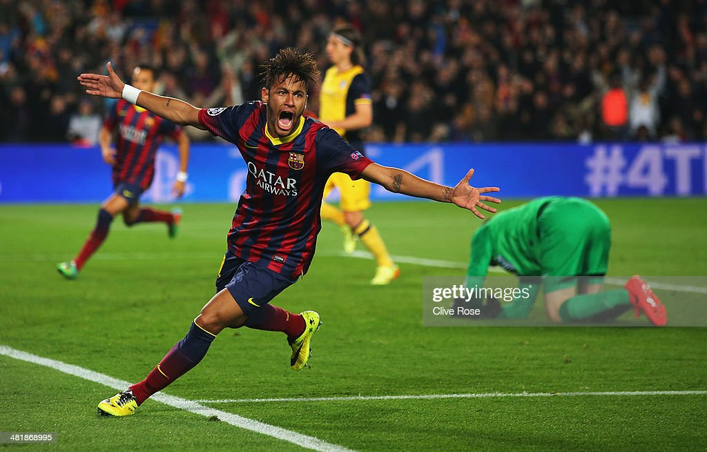 Neymar of Barcelona celebrates his goal during the UEFA Champions League Quarter Final first leg match between FC Barcelona and Club Atletico de Madrid at Camp Nou on April 1, 2014 in Barcelona, Spain.
