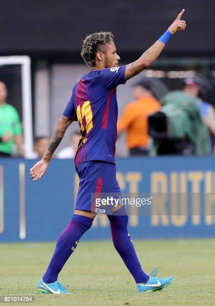 Neymar of Barcelona celebrates his goal in the first half against Juventus during the International Champions Cup 2017 on July 22 2017 at MetLife...