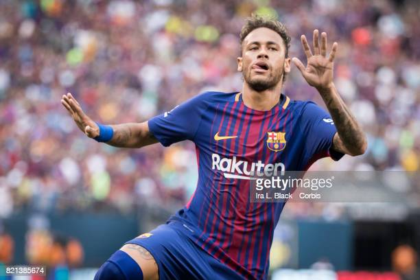 Neymar of Barcelona celebrates his second goal of the match during the International Champions Cup match between FC Barcelona and Juventus at the...