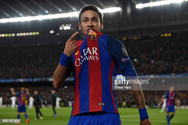 Neymar of Barcelona celebrates his side's sixth goal during the UEFA Champions League Round of 16 second leg match between FC Barcelona and Paris...