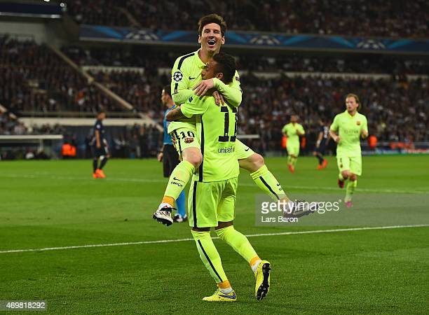 Neymar of Barcelona celebrates scoring the opening goal with Lionel Messi of Barcelona during the UEFA Champions League Quarter Final First Leg match...