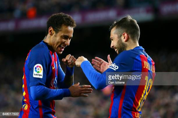 Neymar of Barcelona celebrates with Jordi Alba after scoring their second goal during the La Liga match between FC Barcelona and RC Celta de Vigo at...