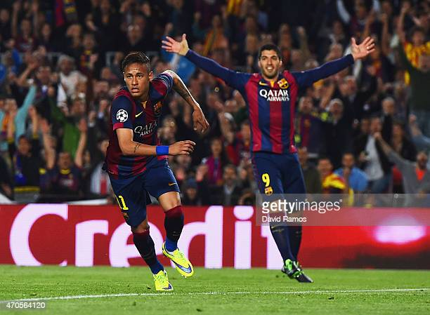 Neymar of Barcelona celebrates with Luis Suarez as he scores their second goal during the UEFA Champions League Quarter Final second leg match...