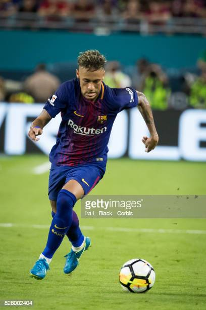 Neymar of Barcelona crosses over toward the goal during the International Champions Cup El Clásico match between FC Barcelona and Real Madrid at the...