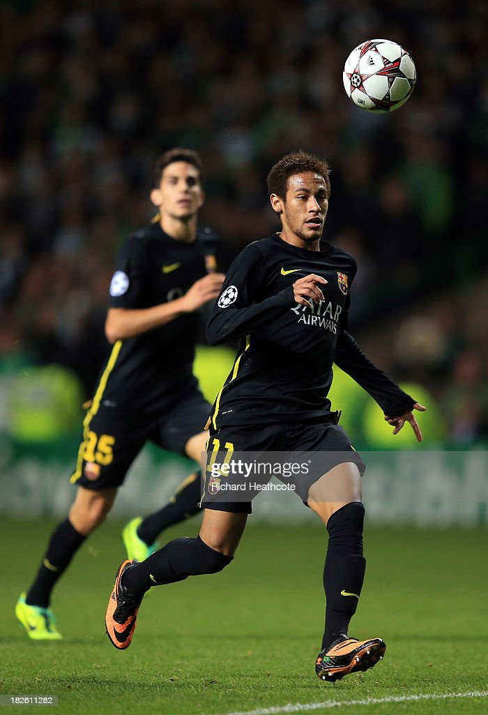 Neymar of Barcelona in action during the UEFA Champions League group H match between Celtic and FC Barcelona at the Celtic Park Stadium on October 1, 2013 in Glasgow, Scotland.