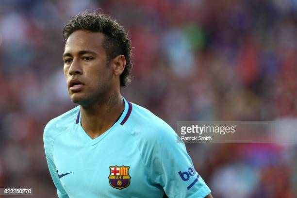 Neymar of Barcelona looks on against Manchester United in the first half during the International Champions Cup match at FedExField on July 26 2017...