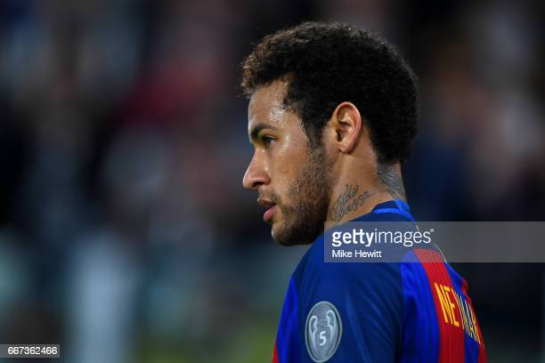 Neymar of Barcelona looks on during the UEFA Champions League Quarter Final first leg match between Juventus and FC Barcelona at Juventus Stadium on...