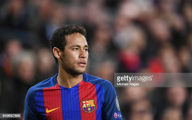Neymar of Barcelona looks on during the UEFA Champions League Round of 16 second leg match between FC Barcelona and Paris SaintGermain at Camp Nou on...