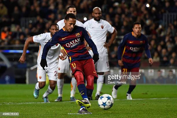 Neymar of Barcelona misses from the penalty spot leading to the sixth goal scored by Adriano of Barcelona during the UEFA Champions League Group E...
