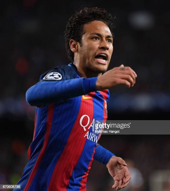 Neymar of Barcelona reacts during the UEFA Champions League Quarter Final second leg match between FC Barcelona and Juventus at Camp Nou on April 19...