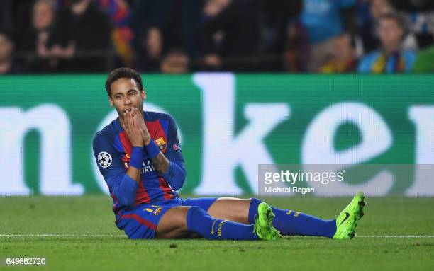 Neymar of Barcelona reacts during the UEFA Champions League Round of 16 second leg match between FC Barcelona and Paris SaintGermain at Camp Nou on...