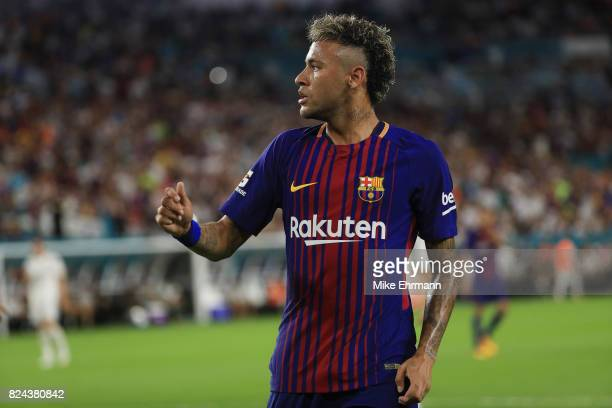 Neymar of Barcelona reacts during their International Champions Cup 2017 match against Real Madrid at Hard Rock Stadium on July 29 2017 in Miami...