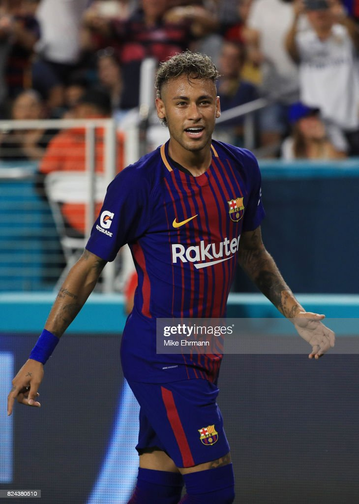 Neymar #11 of Barcelona reacts in the second half against Real Madrid during their International Champions Cup 2017 match at Hard Rock Stadium on July 29, 2017 in Miami Gardens, Florida.