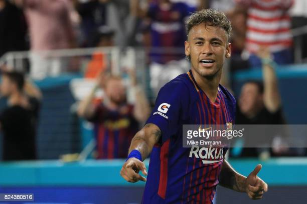 Neymar of Barcelona reacts in the second half against Real Madrid during their International Champions Cup 2017 match at Hard Rock Stadium on July 29...