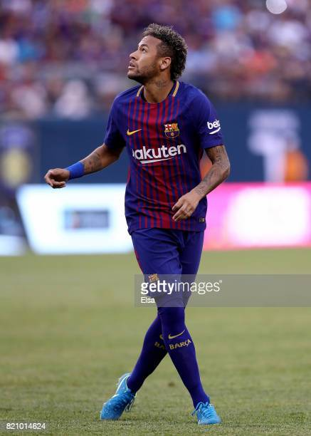 Neymar of Barcelona reacts to a shot in the first half against Juventus during the International Champions Cup 2017 on July 22 2017 at MetLife...