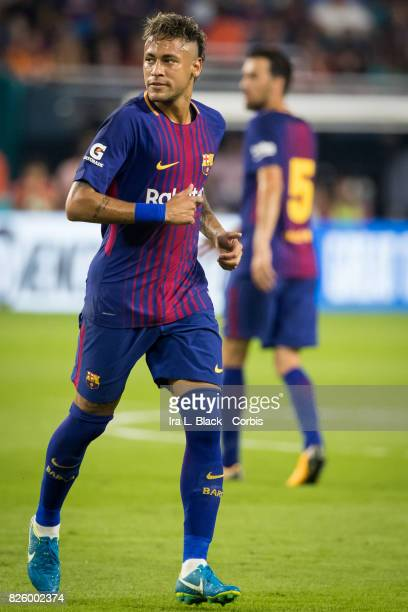 Neymar of Barcelona runs the pitch during warm ups during the International Champions Cup El Clásico match between FC Barcelona and Real Madrid at...